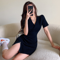 Dress Summer 2021 black Average size Short skirt singleton  Short sleeve commute V-neck High waist Solid color Socket One pace skirt 18-24 years old Type A Korean version zipper four point one one 31% (inclusive) - 50% (inclusive)