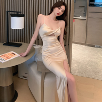 Dress Summer 2021 Champagne, black S,M,L longuette singleton  commute One word collar High waist Solid color Socket One pace skirt camisole 18-24 years old Type A Korean version Hollowed out, bare back four point one one other