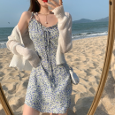 Fashion suit Summer 2021 S. M, l, average size White cardigan, yellow dress, blue dress 18-25 years old four point one one