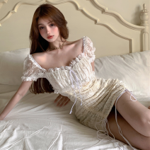 Dress Summer 2021 White, black S, M Short skirt singleton  Short sleeve commute square neck High waist Solid color Socket A-line skirt puff sleeve 18-24 years old Type A Korean version Bandage, lace Four point four Lace nylon