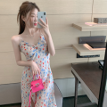 Dress Summer 2021 Floral skirt S, M Mid length dress singleton  Sleeveless commute V-neck High waist Broken flowers Socket One pace skirt camisole 18-24 years old Type A Korean version Four point nine