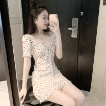 Dress Summer 2021 Picture color S, M Short skirt singleton  Short sleeve commute square neck High waist other One pace skirt routine 18-24 years old Type A Korean version fungus Four point two