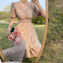 Dress Summer 2021 Picture color S,M,L longuette singleton  Short sleeve commute V-neck High waist Broken flowers A-line skirt puff sleeve 18-24 years old Type A Korean version Fold, Auricularia auricula Four point three 91% (inclusive) - 95% (inclusive)