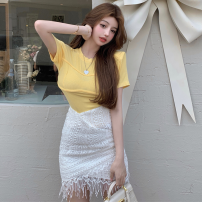 Fashion suit Summer 2021 S. M, average size Yellow T-shirt, white skirt 18-25 years old three point three one 31% (inclusive) - 50% (inclusive)