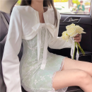 Fashion suit Summer 2021 S, M Green lace skirt, white short suit 18-25 years old four point one three