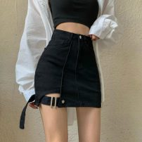 skirt Summer 2021 S,M,L black Short skirt commute High waist A-line skirt Solid color Type A 18-24 years old two point two four 71% (inclusive) - 80% (inclusive) Denim nylon Pocket, button, zipper, stitching Korean version