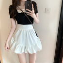 skirt Summer 2021 S,M,L White, black Short skirt commute High waist Pleated skirt Solid color Type A 18-24 years old three point three zero 30% and below Korean version