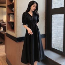 Dress Summer 2021 black S, M Mid length dress singleton  Short sleeve commute V-neck High waist Solid color Socket A-line skirt 18-24 years old Type A Retro fold four point one four