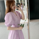 Dress Summer 2021 violet Average size Mid length dress singleton  Short sleeve commute V-neck High waist Solid color A-line skirt puff sleeve 18-24 years old Type A Korean version Frenulum Four point nine