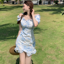 Dress Summer 2021 blue S, M Short skirt singleton  Short sleeve commute One word collar High waist Broken flowers One pace skirt routine 18-24 years old Type A Retro Ruffle, fold, tie dye Four point nine 31% (inclusive) - 50% (inclusive)
