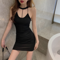 Dress Summer 2021 White, black Average size Short skirt singleton  Sleeveless commute High waist Solid color One pace skirt Hanging neck style 18-24 years old Type A Korean version backless Four point six