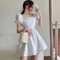 Dress Summer 2021 White, black S, M Short skirt singleton  Short sleeve commute square neck High waist Solid color A-line skirt puff sleeve 18-24 years old Type A Korean version Hollow out, nail bead Four point six 31% (inclusive) - 50% (inclusive)