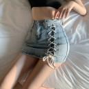 Fashion suit Summer 2021 S. M, l, average size White top, black top, blue denim skirt, black denim skirt 18-25 years old four point two zero