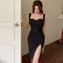 Dress Summer 2021 black S,M,L Middle-skirt singleton  Sleeveless commute High waist Solid color One pace skirt camisole 18-24 years old Type A Korean version Four point one polyester fiber