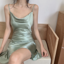 Dress Spring 2021 Green, black S,M,L Short skirt singleton  Sleeveless commute Solid color A-line skirt camisole 18-24 years old Type A Korean version seven point two two