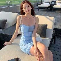Dress Summer 2021 wathet S, M Short skirt singleton  commute High waist Socket A-line skirt camisole 18-24 years old Type A Retro Fold, splice Three point eight 30% and below other other