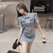 Dress Summer 2021 Denim blue S,M,L Short skirt singleton  Short sleeve commute square neck High waist Solid color Single breasted A-line skirt 18-24 years old Type A Korean version Button Four point four
