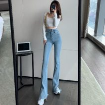 Jeans Summer 2021 Water blue S,M,L trousers Flared trousers routine 18-24 years old Wash, zipper, button, multi pocket Three point eight