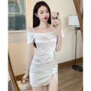 Dress Summer 2021 Mercerized white M, L Short skirt singleton  Short sleeve commute One word collar High waist Solid color One pace skirt routine 18-24 years old Type A Korean version fold Four point six