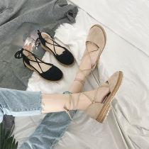 Sandals 35 36 37 38 39 Black apricot Dan Shi die Suede Baotou Flat bottom Flat heel (1cm or less) Spring of 2018 Frenulum Sweet Solid color rubber PU