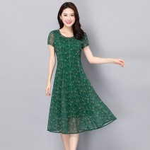 Middle aged and old women's wear Summer 2021 Green, black and red, as shown in the picture, 1251 red S. M, l, XL, XXL, XXXL, XXXXL = 4XL, XXXXL = 5XL, xxxxxxl = 6xl, customized sizes are not refundable noble Dress Self cultivation singleton  Broken flowers 50-59 years old Conjoined thin Crew neck