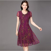 Middle aged and old women's wear Summer 2021 One 1810 purple, three 928 # green, two 1811 red, as shown in the picture S. M, l, XL, XXL, XXXL, XXXXL = 4XL, XXXXL = 5XL, xxxxxxl = 6xl, customized sizes are not refundable fashion Dress Self cultivation singleton  Broken flowers 40-49 years old thin