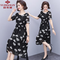 Middle aged and old women's wear Summer 2021 black XL (recommended 90-110 kg) 2XL (recommended 110-125 kg) 3XL (recommended 125-135 kg) 4XL (recommended 135-150 kg) fashion Dress easy singleton  other 40-49 years old Crew neck other LYQ8833 Yu Zhaolin polyester Polyester 100% 96% and above Polyester