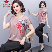 Middle aged and old women's wear Summer 2021 Pink + pants XL (recommended 90-110 kg) 2XL (recommended 110-125 kg) 3XL (recommended 125-135 kg) 4XL (recommended 135-150 kg) fashion suit easy Two piece set 40-49 years old Socket thin routine XS8280 Yu Zhaolin polyester Polyester 100% 96% and above