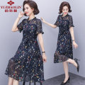Middle aged and old women's wear Summer 2021 Tibetan green XL (recommended 90-110 kg) 2XL (recommended 110-125 kg) 3XL (recommended 125-135 kg) 4XL (recommended 135-150 kg) fashion Dress easy singleton  Flower and bird pattern 40-49 years old other other LYQ8836 Yu Zhaolin polyester Polyester 100%