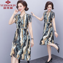 Middle aged and old women's wear Summer 2021 Decor XL (recommended 90-110 kg) 2XL (recommended 110-125 kg) 3XL (recommended 125-135 kg) 4XL (recommended 135-150 kg) fashion Dress easy singleton  Decor 40-49 years old other other LYQ8688 Yu Zhaolin polyester Polyester 100% 96% and above Medium length