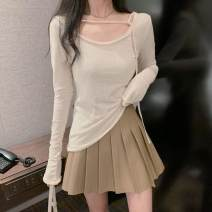 T-shirt Apricot top 9630, black skirt 9841 S, M Autumn 2020 Long sleeves Crew neck Self cultivation Regular routine commute other 51% (inclusive) - 70% (inclusive) 18-24 years old Korean version