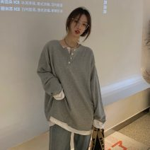 Sweater / sweater Spring 2021 Gray, black Average size Long sleeves Medium length Socket singleton  routine Crew neck Straight cylinder commute routine Color matching 18-24 years old 51% (inclusive) - 70% (inclusive) Korean version 1-25 Splicing