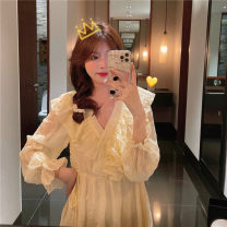 Dress Summer 2021 Tender yellow, taro purple Average size Mid length dress singleton  Long sleeves commute V-neck High waist Solid color Socket A-line skirt other Others 18-24 years old Type A Korean version 3/30 51% (inclusive) - 70% (inclusive)