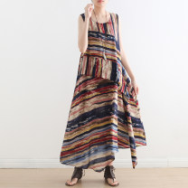 Dress Spring 2021 Decor, dark stripe Average size longuette singleton  Sleeveless commute Crew neck Loose waist stripe Socket A-line skirt routine Others Type A Other / other literature 81% (inclusive) - 90% (inclusive) other cotton