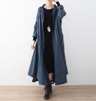Windbreaker Spring 2021 One size fits all, oversized coat Denim blue, denim black Long sleeves routine have more cash than can be accounted for commute Single breasted V-neck Bat sleeve Solid color Bat type literature Eucalyptus Mutu 96% and above cotton cotton