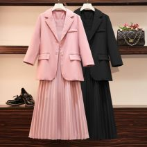 Women's large Autumn of 2019 Lotus, black Large XL, large XXL, large XXL, large XXXXL, large L trousers Two piece set commute easy moderate Cardigan Long sleeves Solid color Korean version square neck routine polyester Three dimensional cutting routine Other / other 25-29 years old pocket straps