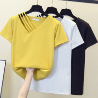 Women's large Summer 2021 White, yellow, black L [100 ~ 120 Jin], XL [120 ~ 140 Jin], 2XL [140 ~ 160 Jin], 3XL [160 ~ 180 Jin], 4XL [180 ~ 200 Jin] T-shirt singleton  commute easy moderate Socket Short sleeve Solid color Korean version V-neck routine polyester Three dimensional cutting routine