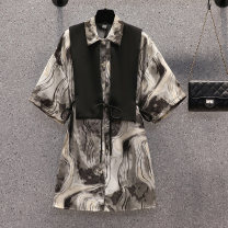 Women's large Summer 2021 Picture color suit Large XL, large XXL, large XXL, large XXXXL, large L shirt Two piece set commute easy moderate Cardigan Short sleeve other Korean version Polo collar Medium length cotton printing and dyeing shirt sleeve Bandage Single row two buttons