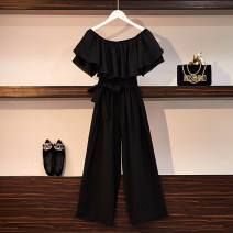 Women's large Summer 2020 black Large XL, large XXL, large XXL, large XXXXL, large L, M trousers singleton  commute easy moderate Socket Short sleeve Solid color Korean version One word collar polyester Three dimensional cutting routine 25-29 years old belt 96% and above Ninth pants Lotus leaf edge