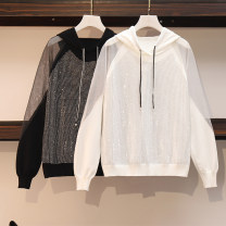 Women's large Spring 2021 black Large size L [90-115 Jin recommended], large XL [115-135 Jin recommended], large 2XL [135-155 Jin recommended], large 3XL [155-175 Jin recommended], large 4XL [175-200 Jin recommended] Knitwear / cardigan singleton  commute easy moderate Socket Long sleeves Solid color