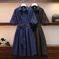 Women's large Summer 2021 Navy blue, black Dress singleton  commute easy moderate Short sleeve Solid color Korean version square neck Three dimensional cutting routine Button Medium length other