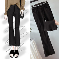Women's large Winter of 2019, autumn of 2019 black trousers singleton  commute Self cultivation moderate Solid color Korean version Polyester, others Three dimensional cutting Other / other Lace stitching 51% (inclusive) - 70% (inclusive) Ninth pants