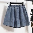Women's large Summer 2021 wathet Large XL, large L, m, 2XL, 3XL, 4XL, 5XL Jeans singleton  commute easy moderate Solid color Korean version Three dimensional cutting Three dimensional decoration shorts