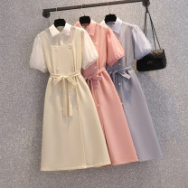 Women's large Summer 2021 Apricot, pink, bluish grey Large XL, large XXL, large XXL, large XXXXL, large L, M Dress Fake two pieces commute easy moderate Socket Short sleeve Solid color Korean version Polo collar Medium length acrylic fibres Three dimensional cutting puff sleeve Medium length