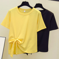 Women's large Summer 2021 Yellow, black M [80 ~ 100 Jin], l [100 ~ 120 Jin], XL [120 ~ 140 Jin], 2XL [140 ~ 160 Jin], 3XL [160 ~ 180 Jin], 4XL [180 ~ 200 Jin] T-shirt singleton  commute easy thin Socket Short sleeve other Korean version Crew neck routine other routine 25-29 years old bow
