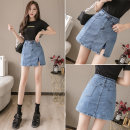 skirt Summer 2021 S,M,L,XL,2XL Picture color Short skirt Versatile High waist skirt Solid color Type H 18-24 years old Denim