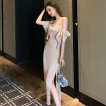 Dress Spring 2021 Apricot S,M,L longuette singleton  Sleeveless commute One word collar High waist Solid color One pace skirt camisole 18-24 years old Type H Darcis Korean version backless XCrTa More than 95% polyester fiber