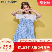 Dress Blue / 50 female E·LAND KIDS 110cm 120cm 130cm 140cm 150cm 160cm 165cm Cotton 100% summer lady Short sleeve lattice cotton A-line skirt 6 years old, 7 years old, 8 years old, 9 years old, 10 years old, 11 years old, 12 years old, 13 years old and 14 years old