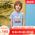 T-shirt blue E·LAND KIDS 110cm 120cm 130cm 140cm 150cm 160cm 170cm male summer Short sleeve Crew neck leisure time There are models in the real shooting other Cartoon animation Cotton 56.8% polyester 43.2%