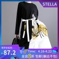Dress Autumn 2020 black Average size Middle-skirt singleton  Long sleeves commute Crew neck Loose waist other Socket Ruffle Skirt routine 25-29 years old Type A stella marina collezione Korean version Ruffles, taping, lacing, stitching